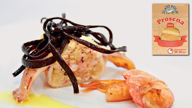 Gourmet: Polnjeni lignji s proseno kašo, kozice in alge (foto: Playboy Press)