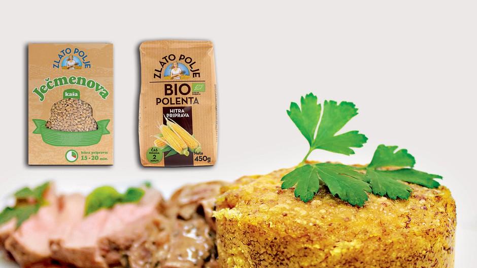 Gourmet: Teletina, ječmenova kaša z jurčki in popečena polenta z bučnim oljem (foto: Playboy Press)