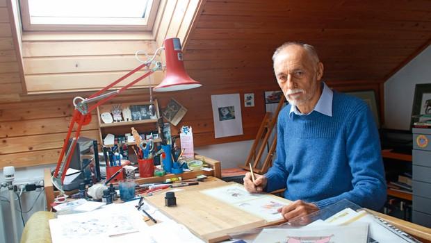 Marjan Manček: Še sam se čudim, da sem toliko narisal,  nekatere stvari tudi dobro (foto: Goran Antley)