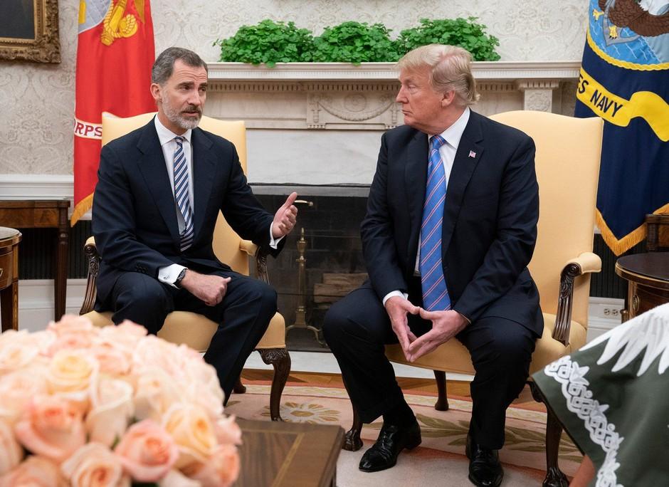 Ostre besede za Trumpa tudi ob obisku španskega kraljevega para v Beli hiši (foto: profimedia)
