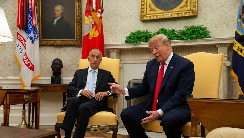 Trump s portugalskim predsednikom tudi o nogometu! (foto: Profimedia)