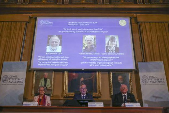 Nobelova nagrada za fiziko je namenjena odkritjem na področju laserske fizike