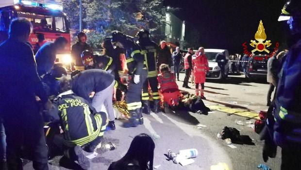 V Italiji so s pomočjo očividcev identificirali mladoletnika, odgovornega za paniko in 6 mrtvih v diskoteki (foto: STA)