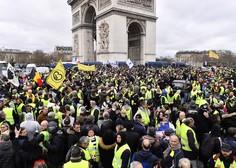 Nasilje in aretacije na protestih rumenih jopičev v Franciji