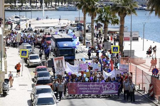 V več hrvaških mestih pripravili shode proti splavu