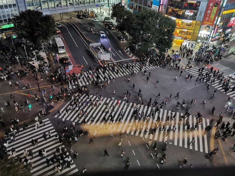 Prehod Shibuya v Tokiu, prek katerega se v eni zeleni luči sprehodi 2500 ljudi