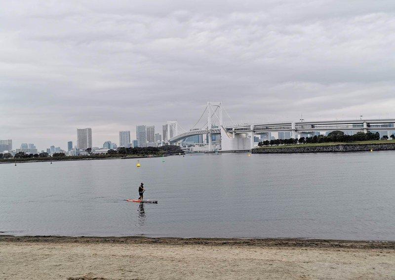 Odaiba in pogled na Rainbow bridge, Tokio
