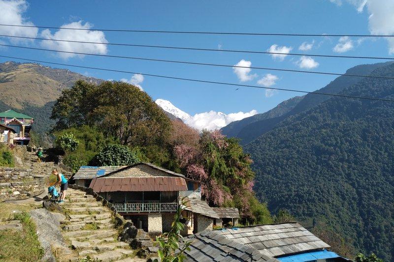 Ko posije sonce se temperature nenadoma dvignejo. V poštev pridejo kratke majice in hlače, medtem pa se ob jasnem vremenu odpre pogled na himalajske vrhove.