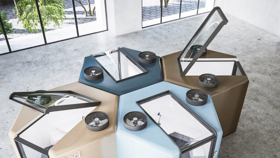 Nova realnost: Takšna je nagrajena ideja za pisarne v kabinah po pandemiji (foto: Instagram/@mohamedmradwan)