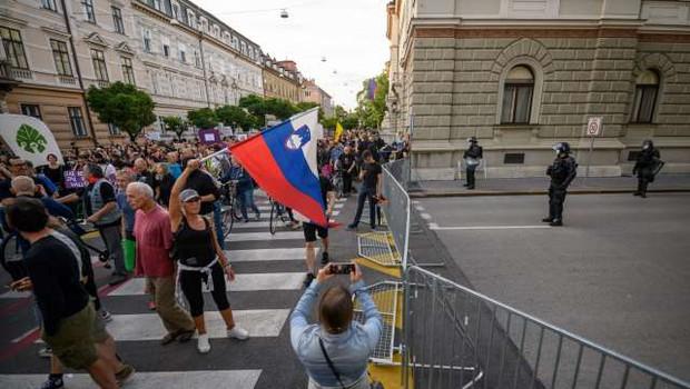 Policisti popisali 30 protestnikov, 'bralcem ustave' pa izdali plačilni nalog (foto: Nebojša Tejić/STA)