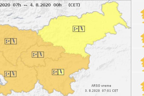 Danes in jutri pestro vremensko dogajanje. Oranžni alarm za zahodni del države.