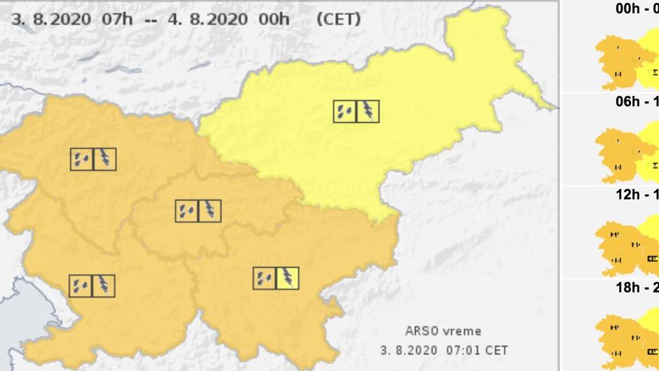 Danes in jutri pestro vremensko dogajanje. Oranžni alarm za zahodni del države. (foto: Arso)