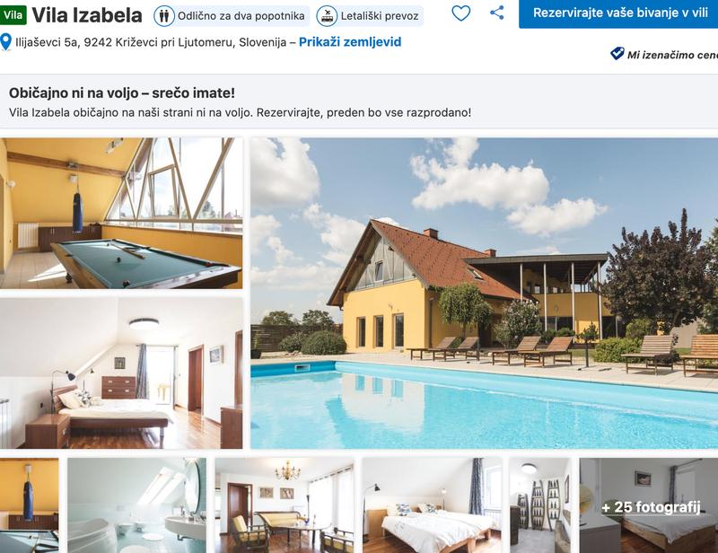 #1 Vila Izabela: Čudovita vila z bazenom, ki se nahaja v Križevcih pri Ljutomeru, ponuja razkošje, ki ga zlepa ne boste pozabili! Ponaša se s 6 spalnicami in zasebnim mini wellness centrom.