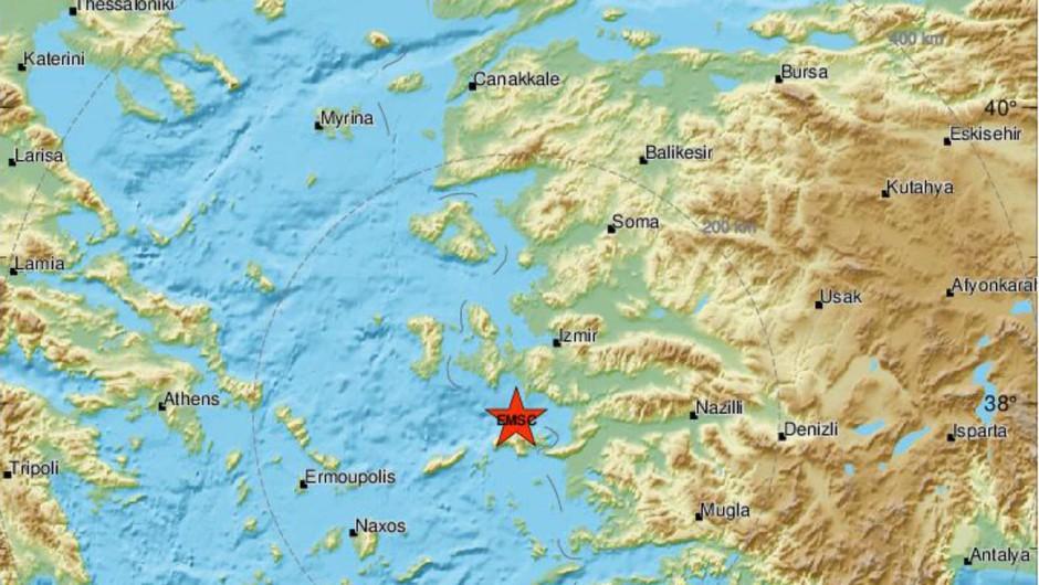 Potres 7. stopnje stresel zahodno obalo Turčije in grških otokov v Egejskem morju (foto: ESMC)
