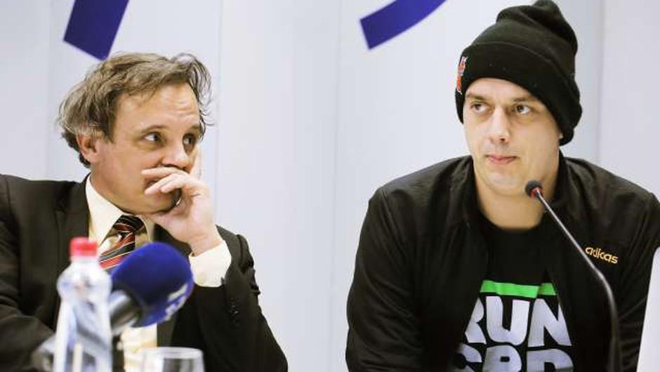 Trkaj in Saksida o novem literarno-raperskem podvigu za najmlajše bralce (foto: Daniel Novakovič/STA)