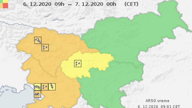 Oranžni alarm za zahodno Slovenijo, okrepljen jugo, močno deževje in nevarnost plazov (foto: Arso)