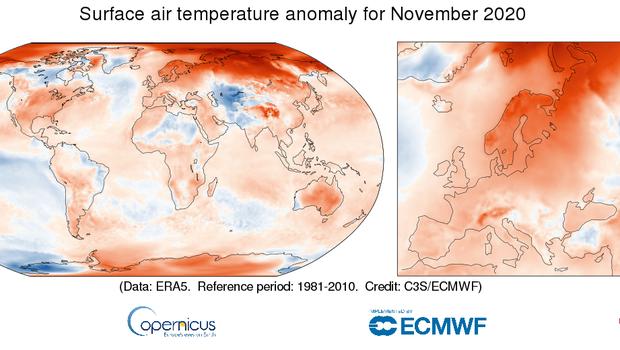 Letošnji november je bil najtoplejši doslej, leto 2020 pa bo verjetno podrlo vse rekorde kot najtoplejše (foto: C3S)