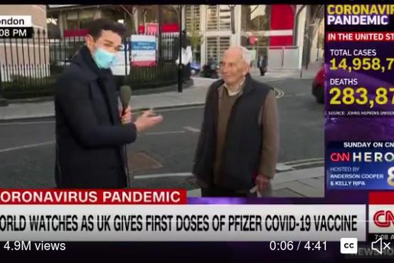 91-letni Britanec čez noč postal spletni hit, ko so ga na ulici povprašali o cepljenju