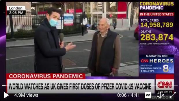 91-letni Britanec čez noč postal spletni hit, ko so ga na ulici povprašali o cepljenju (foto: Twitter)