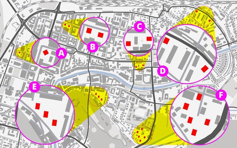 Lokacije 15 potresno najbolj ogroženih stolpnic v središču Ljubljane.