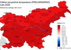 Leto 2020 je bilo v Sloveniji nadpovprečno toplo, povprečno namočeno in nadpovprečno osončeno