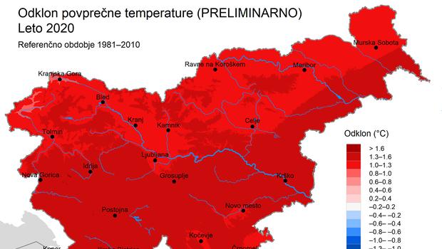 Leto 2020 je bilo v Sloveniji nadpovprečno toplo, povprečno namočeno in nadpovprečno osončeno (foto: Arso)