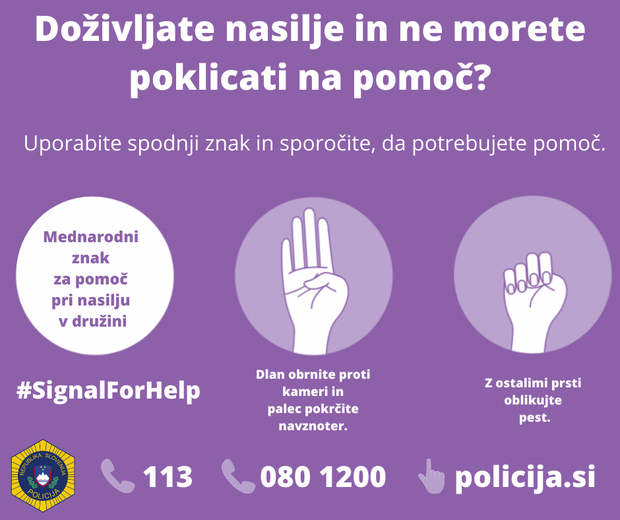 Mednarodni skriti znak za pomoč pri nasilju v družini - ga boste prepoznali? (foto: Policija.si)
