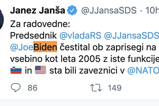 Janša poslal čestitko novemu ameriškemu predsedniku Bidnu
