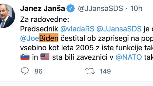 Janša poslal čestitko novemu ameriškemu predsedniku Bidnu (foto: Twitter/posnetek zaslona)