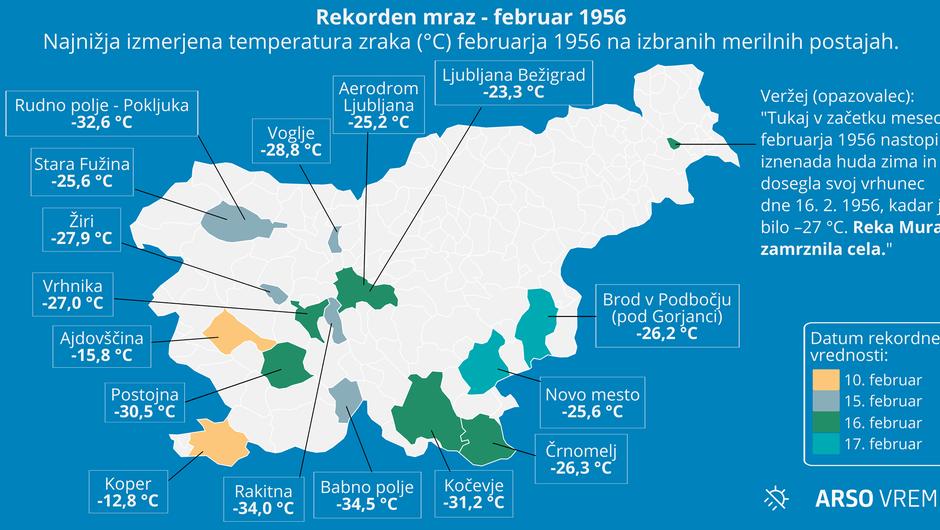 Na današnji dan leta 1956 je bilo eno najbolj mrzlih dni pri nas (foto: Arso)