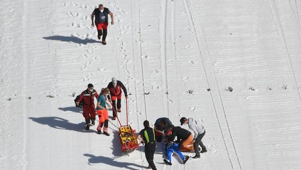 Norveški skakalec Daniel Andre Tande po hudem padcu v Planici spet doma (foto: profimedia)