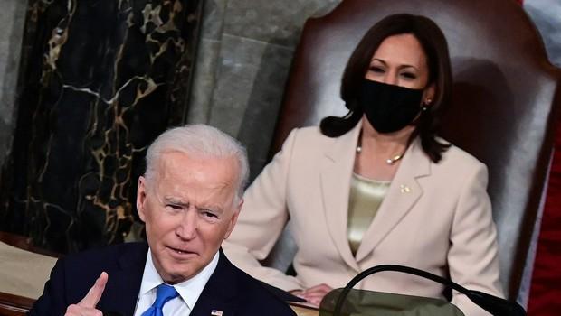 """Biden v kongresu: """"Amerika je pripravljena na vzlet. Spet delamo, spet sanjamo, spet odkrivamo svet"""" (foto: Profimedia)"""