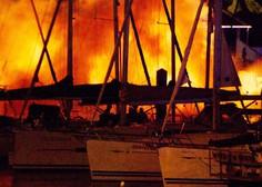 V marini Kaštela blizu Splita zagorele jahte, požar še gasijo