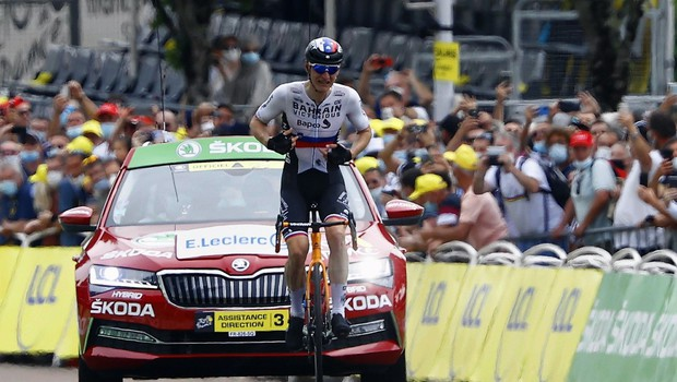 Matej Mohorič si je priboril etapno zmago kolesarske dirke po Franciji (foto: profimedia)