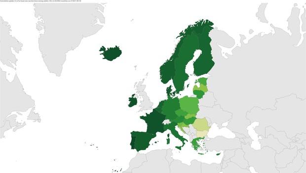 V EU polno cepljenih 70 odstotkov odraslih (foto: ECDC)